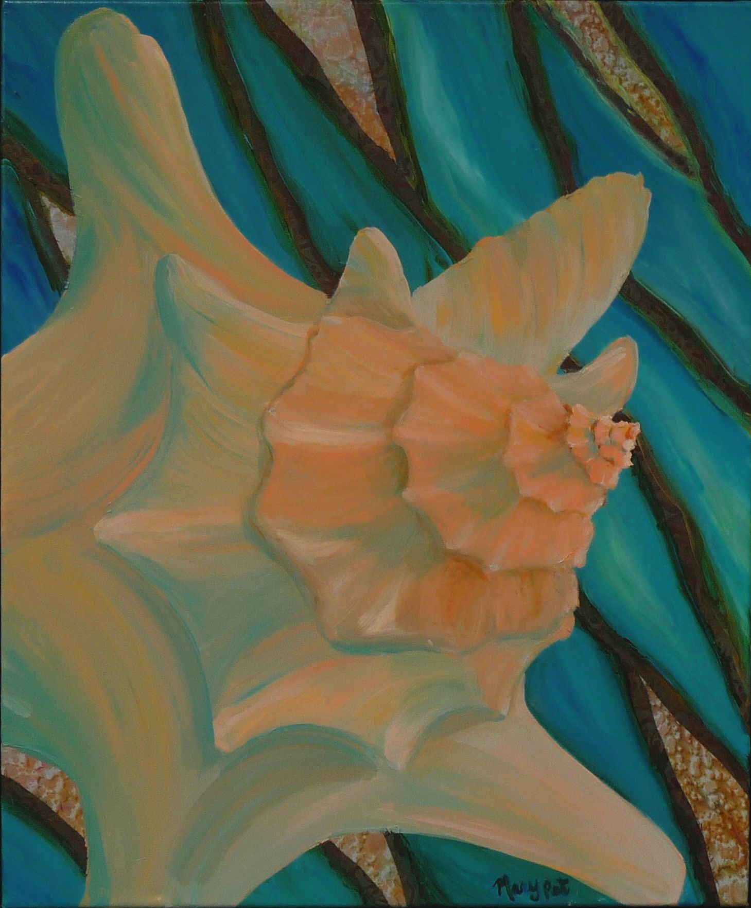Conch in Tide, 20 x 24, Acrylic with Fabric