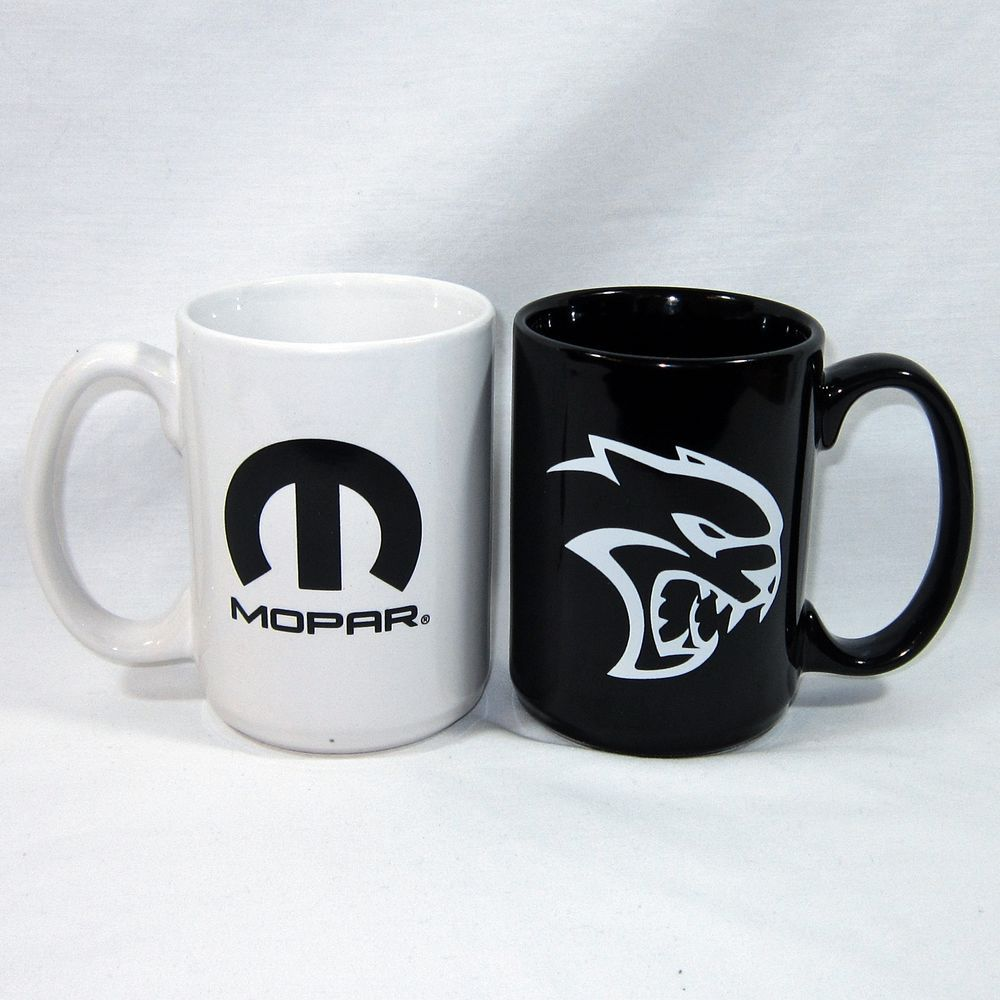 MOPAR Mugs Dodge Hellcat Charger Black and White Coffee Set
