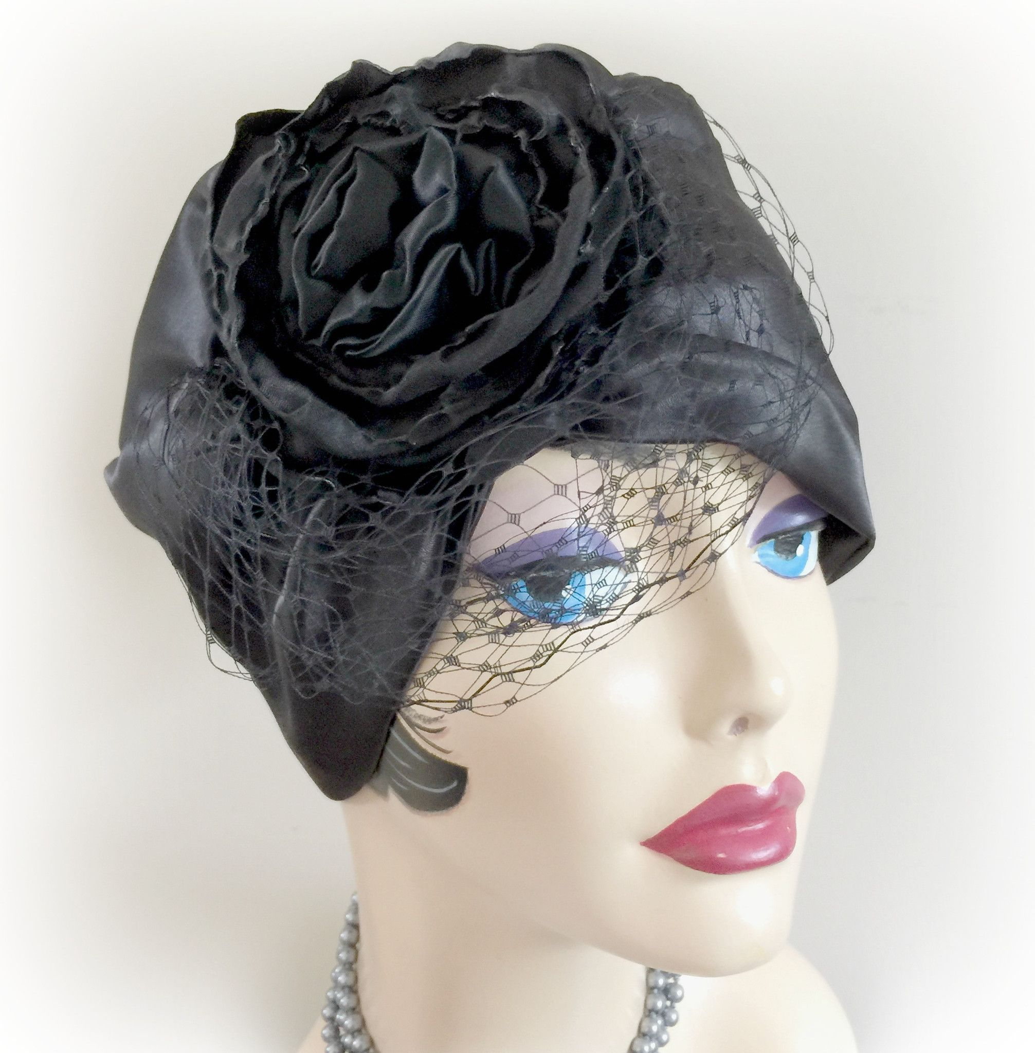 Black Satin Turban with Rose Fascinator The Evie