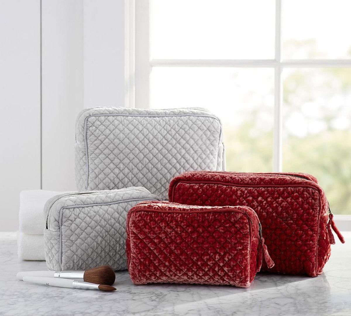 Quilted Soft Sheen Velvet Cosmetic Bags Set of 2 Soft