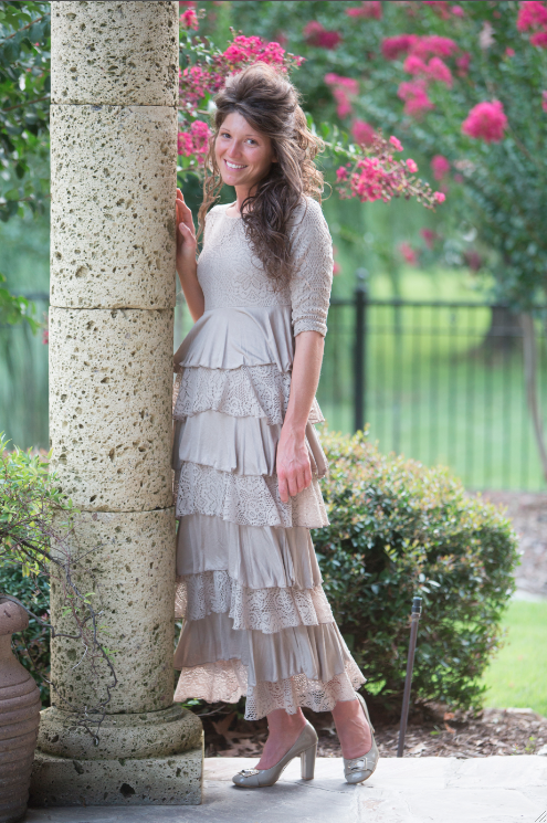 795f70299dd4 Beautiful, slimming dress: Dreaming in Vintage in Mocha | Dainty Jewell's  Designs | Shop modest apparel, modest bridesmaid dresses, ruffles, ...