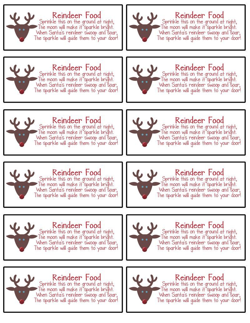 Ridiculous image with reindeer food labels printable