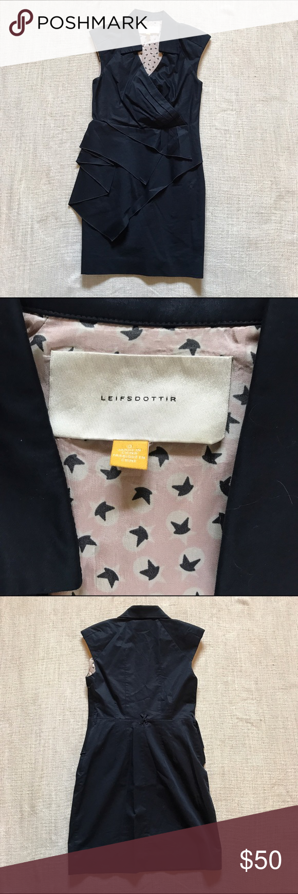 ANTHROPOLOGIE LEIFSDOTTIR Navy Collared Tier Dress LEIFSDOTTIR Navy Sateen 'Eden' Dress DETAILS: Leifsdottir Lightweight Cotton Sateen Spread Collar With V-Neck, Asymmetric Draped Peplum Detail On Front, Side Zip Closure, Fully Lined, Belt Loops SHELL: 97% Cotton; 3% Lycra; LINER 100% Acetate See photos for visual description and measurements. Size 0 All of my items are Pre-Owned. While they may not have been worn, they have been purchased, hung in a closet and been in someone else's…