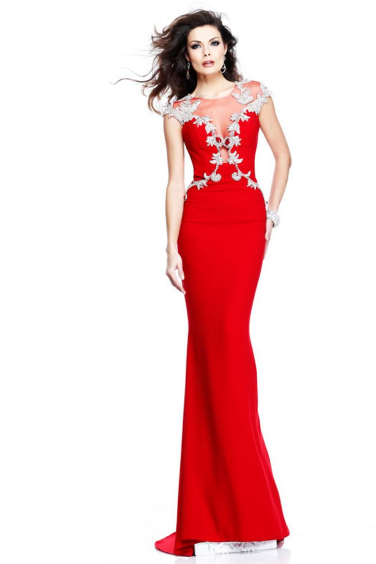 Buy 2014 Mermaid Red Evening Dresses Scoop Sexy Formal