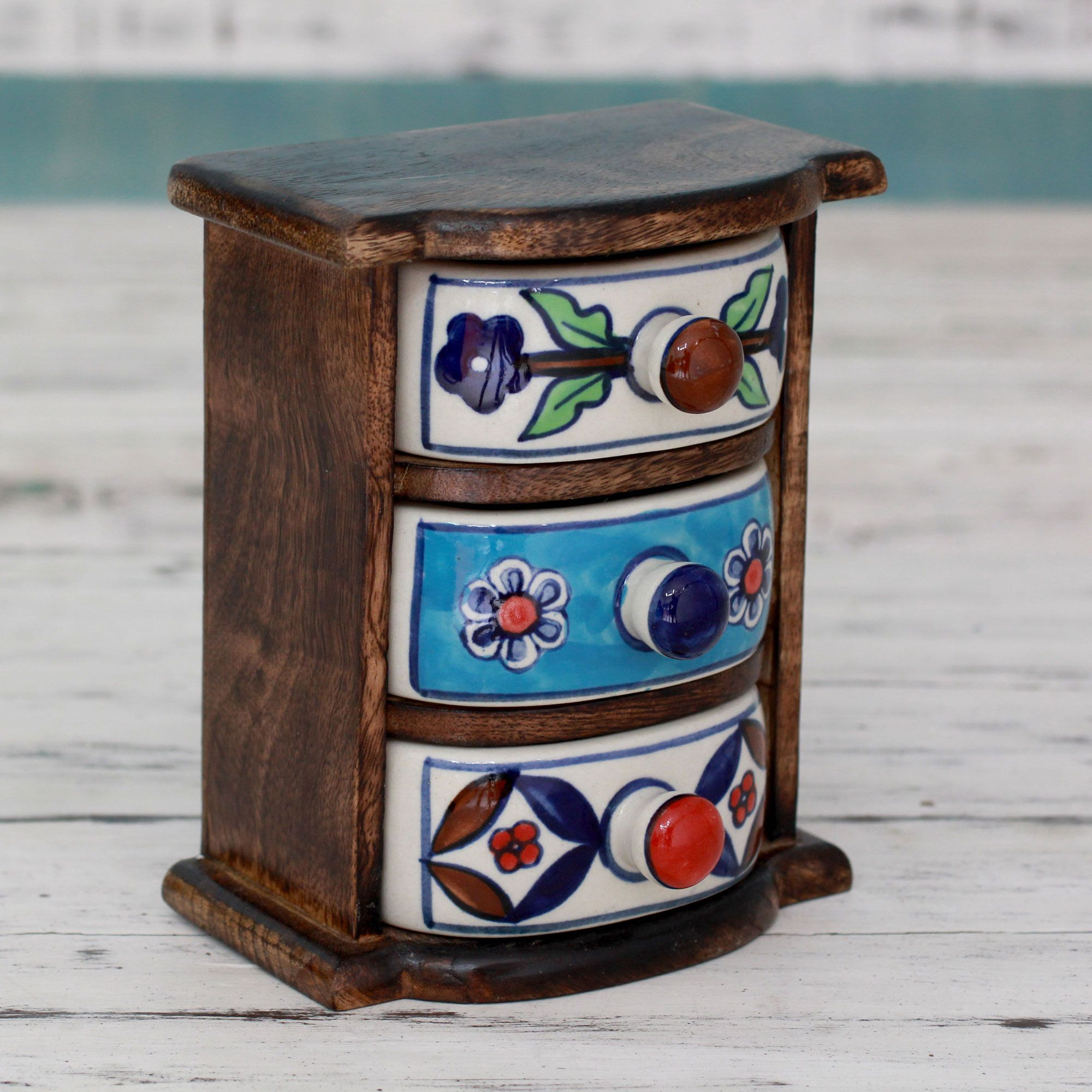 Handmade Small Treasure Chest With 3 Ceramic Drawers From