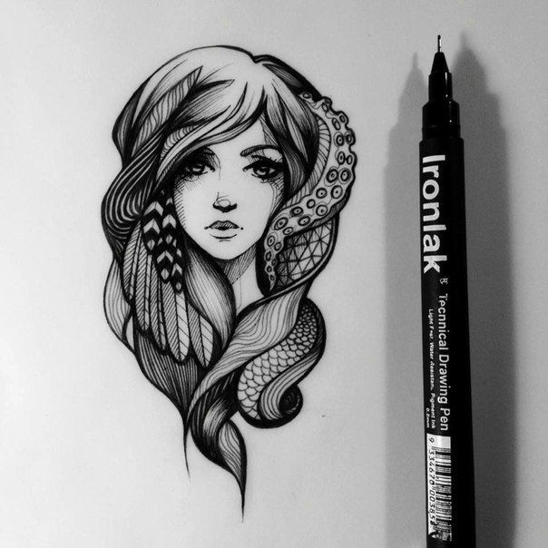 Tattoo Designs With Pen: Liner. Very Nifty Black And White Medium Through A