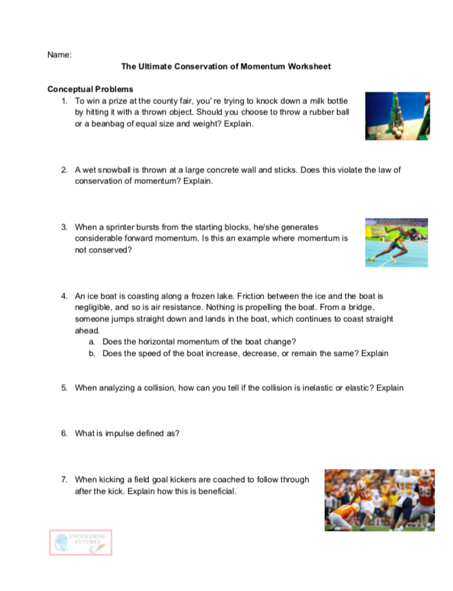 The Ultimate Conservation Of Momentum Worksheet Word Problem Worksheets Word Problems Basic Math Skills