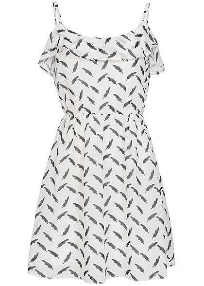 Hailys Damen Mini Kleid Gummizug Feder Muster off weiss schwarz ...