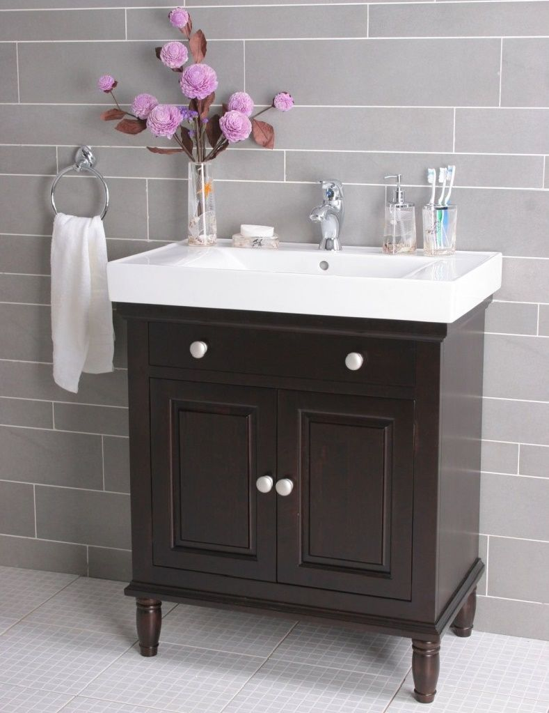 Astounding Lowes Bathroom Vanities Design With White Sleek Marble Vanity Top And Pink Rose Arrangement