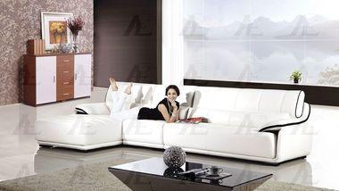 Miraculous 3 Pcs Right Chaise Black Trim White Genuine Leather Creativecarmelina Interior Chair Design Creativecarmelinacom