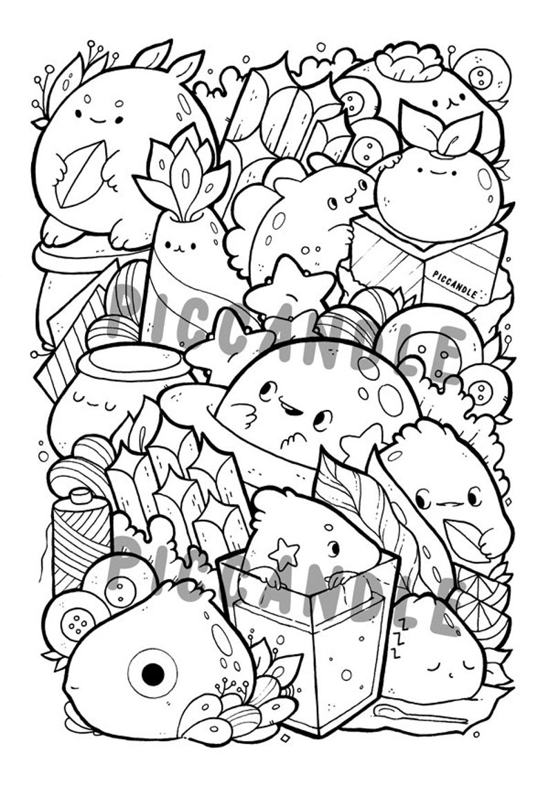 Doodle Coloring Page Printable Cute/Kawaii Coloring Page for