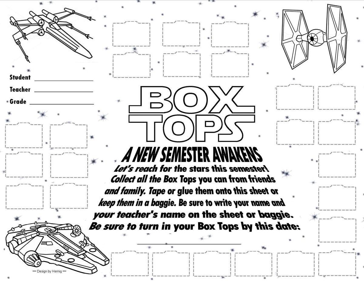Box Tops Collection Sheet -- Star Wars Theme -- 25 Count Box Top ...