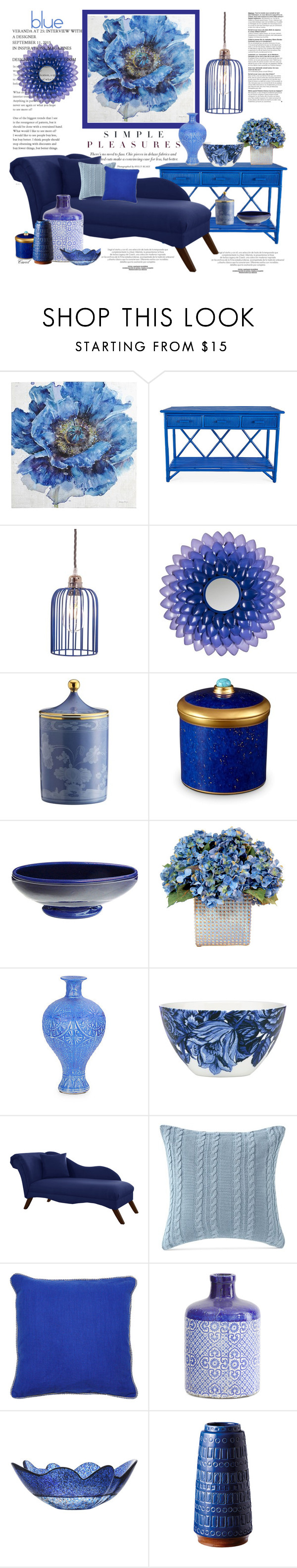 """""""Big, Bold, and Blue"""" by hastypudding ❤ liked on Polyvore featuring interior, interiors, interior design, home, home decor, interior decorating, Pier 1 Imports, David Francis Furniture, Safavieh and Richard Ginori"""