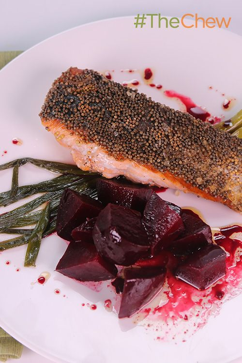 Mustard-Crusted Salmon with Roasted Beets and Scallions by Mario Batali! Dive into this tasty dish for a healthy and filling weeknight meal!