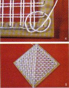 Estrellas azules son las figuras que se forman con los diferentes enmallados que se trabajan sobre el telar de puntillas. Se puede elabor...