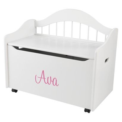 Kidkraft Limited Edition Personalised White Toy Box Pink