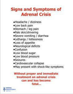 Some of the more common signs and symptoms of adrenal crisis. #adrenalcrisis Find more info at www.aiunited.org