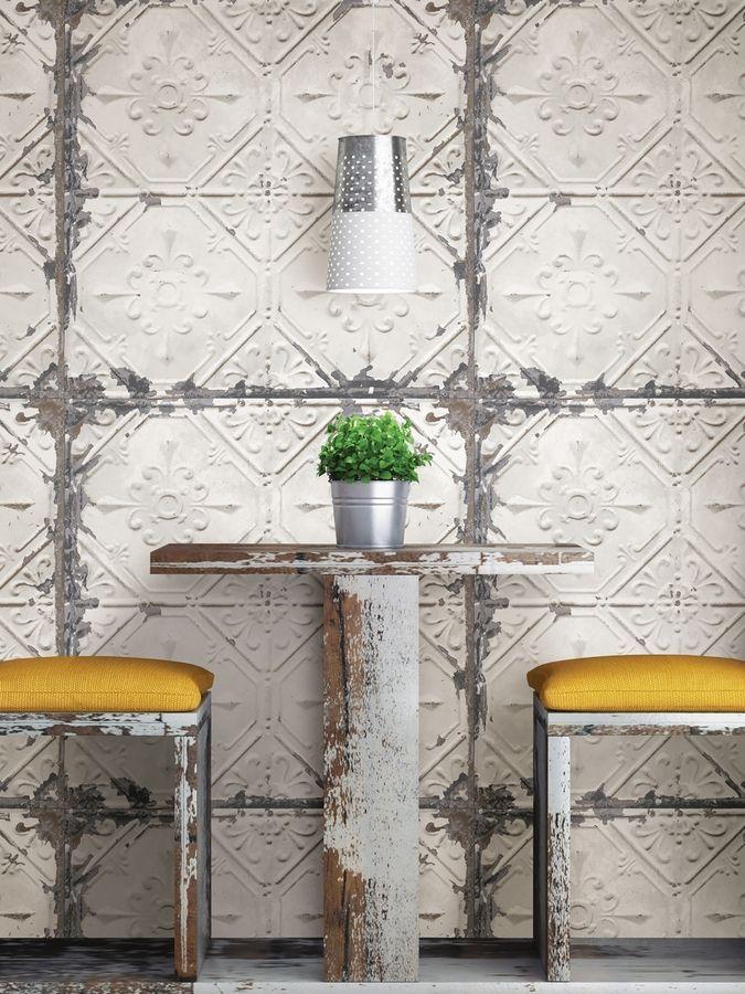 Brewster Vintage Tile Peel And Stick Wallpaper Vintage Tin Tiles Tin Tiles Tin Interior