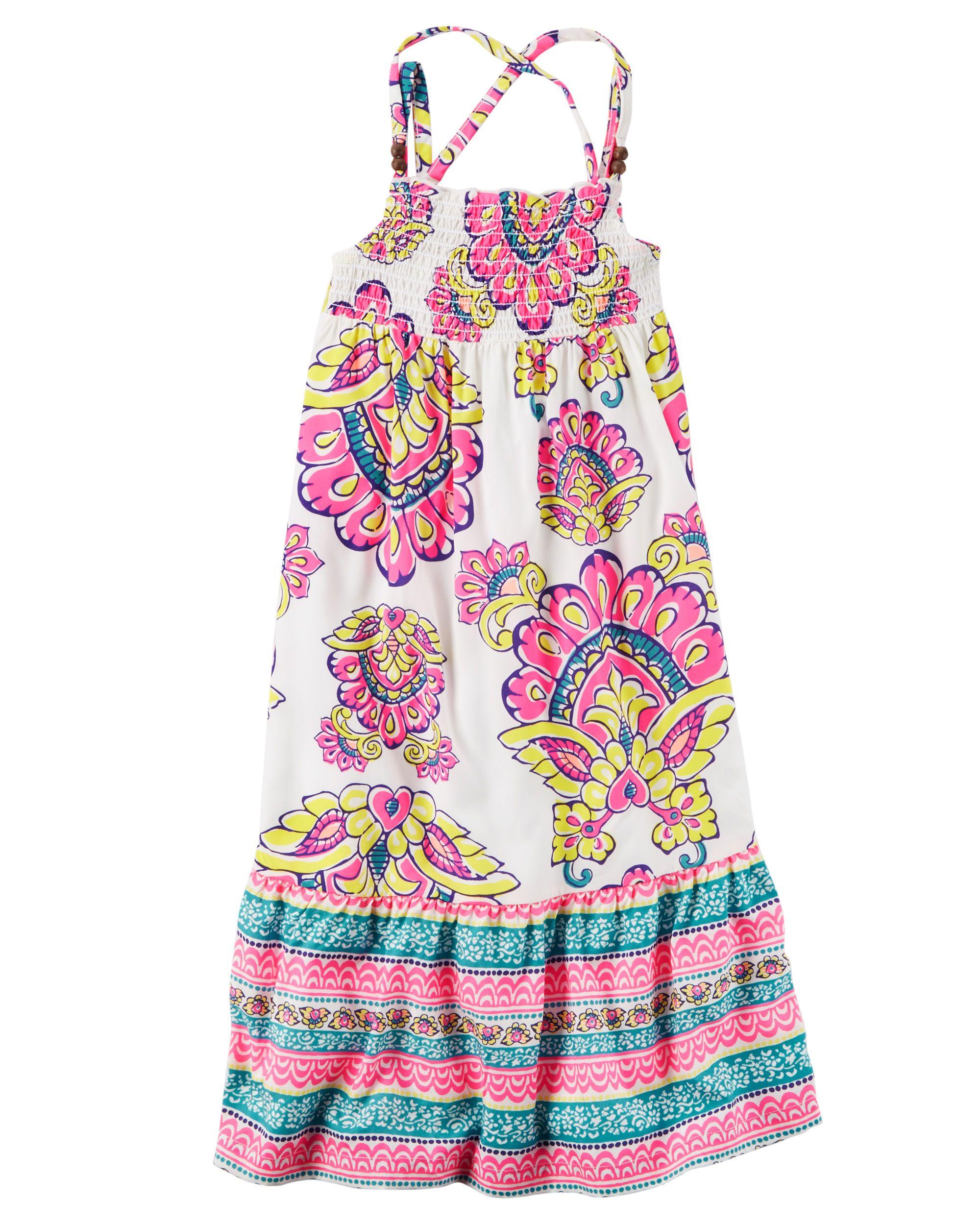 Smocked paisley maxi dress kids girls toddler girls and kids clothing