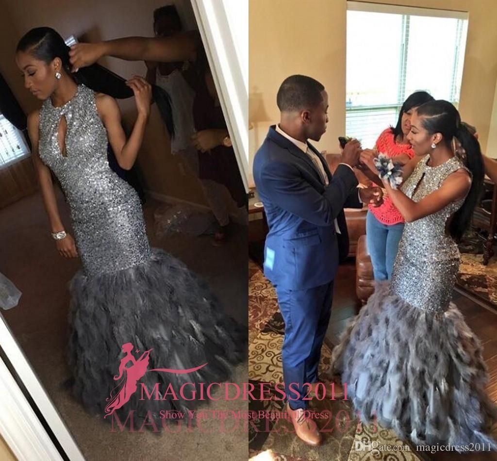 Gorgeous Black Girl 2017 Prom Evening Dresses Mermaid Keyhole Neck Major  Beaded Grey Fur Tiered Skirts 9aaa4085f