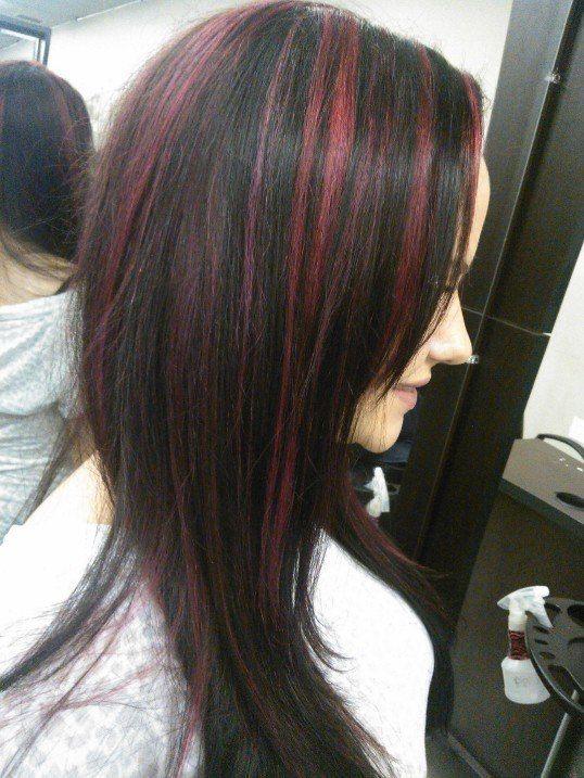 Red Highlights On Dark Hair Love This Colour Ideas Pinterest