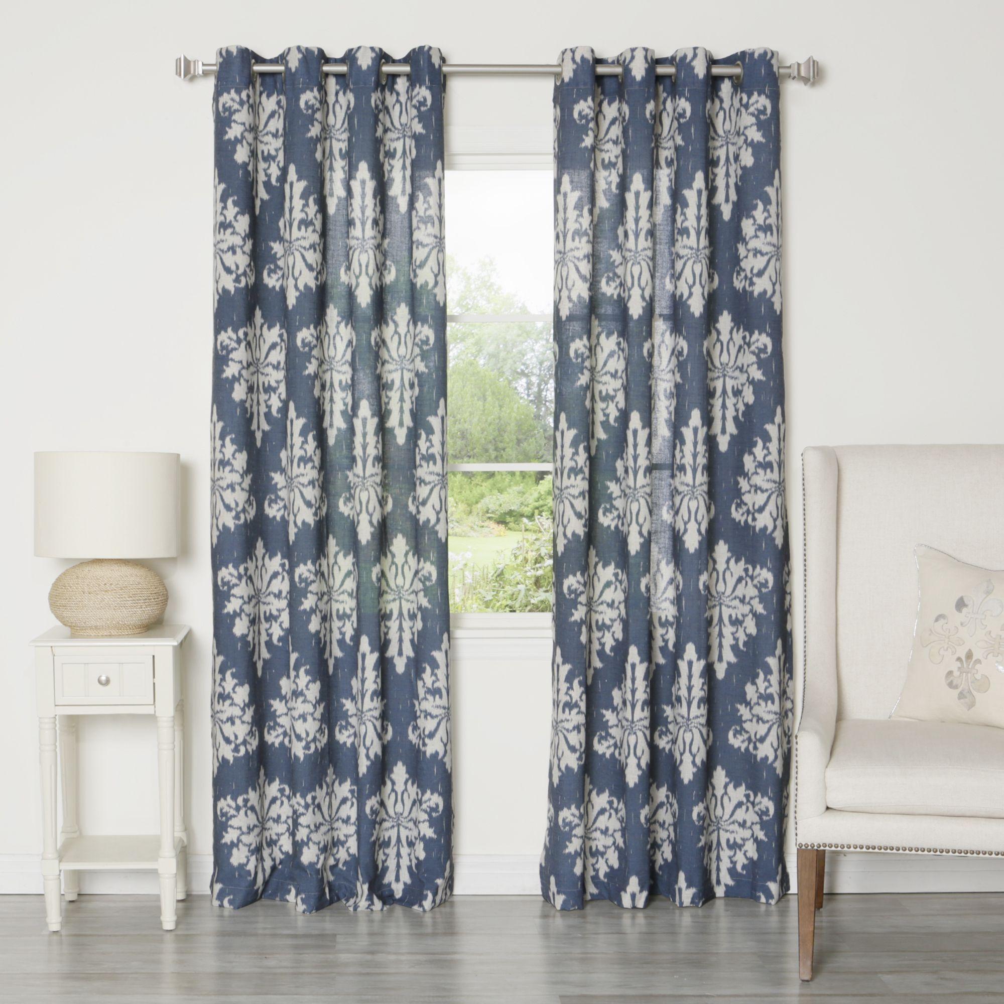 Ikat Linen Grommet Top 84 Inch Curtain Panel Pair Overstock Com