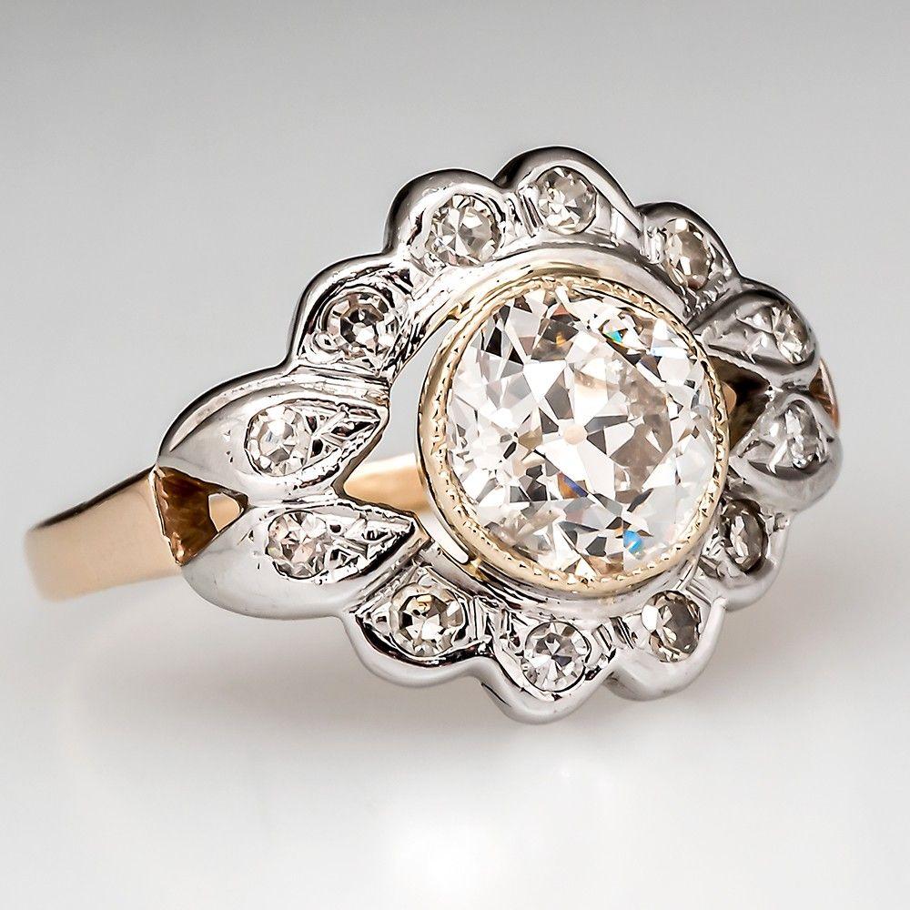 TwoTone Antique Floral Diamond Engagement Ring 14K Gold