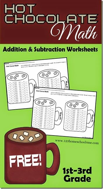 FREE Hot Chocolate Math Addition and Subtraction Worksheets (instant ...