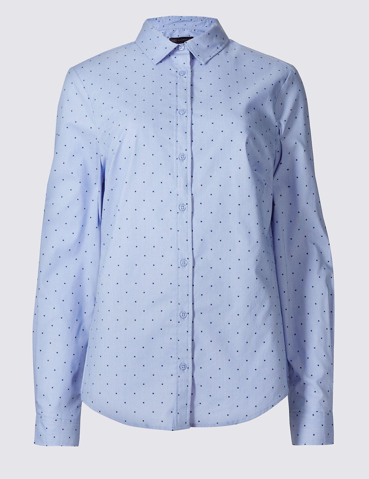 86602ba3 Cotton Rich Star Print Fuller Bust Shirt | Everyday outfits | Shirts ...