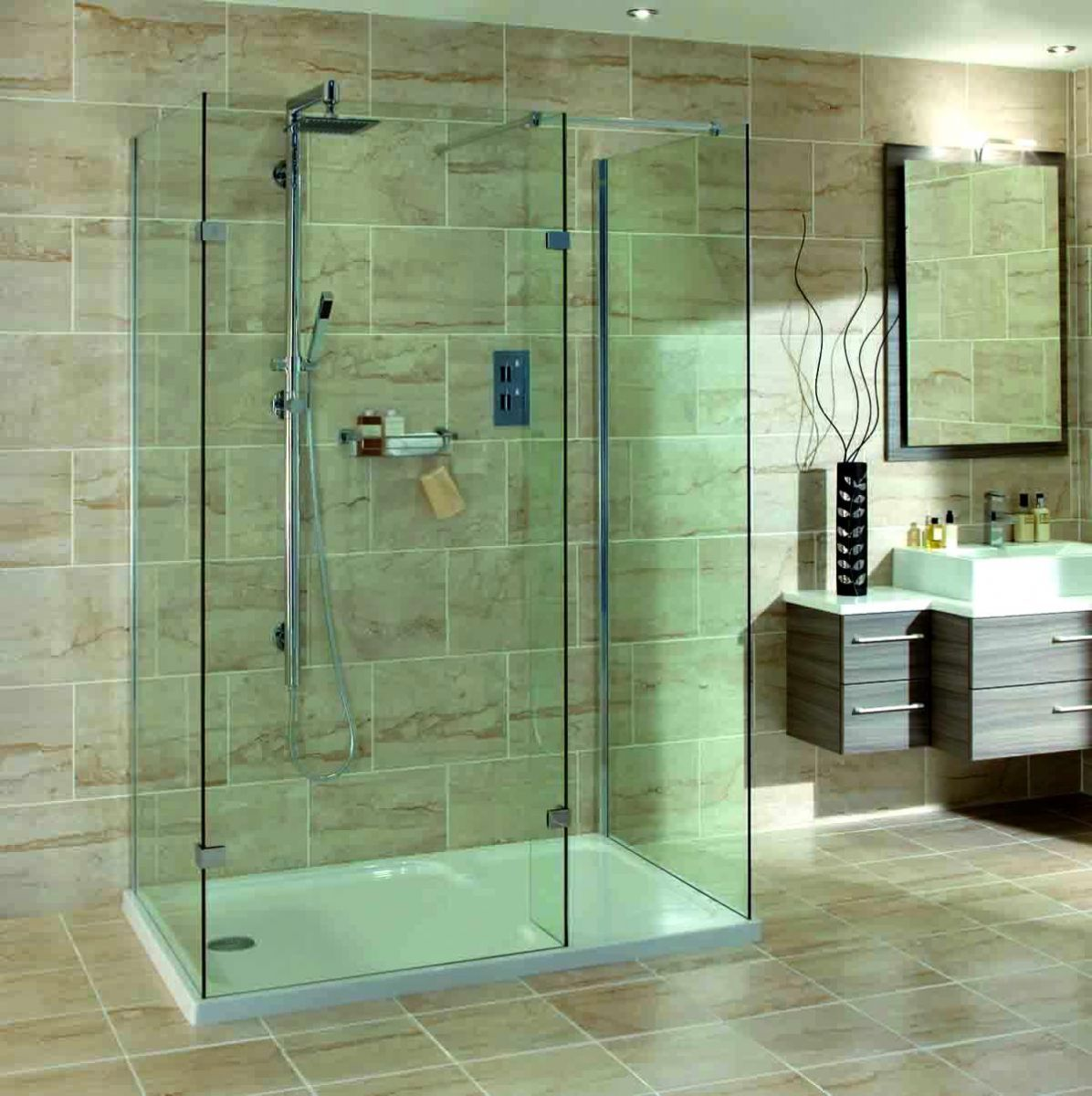 Walk In Shower Cubicles Part - 43: Aqata Spectra Walk-in 3 Sided Shower Enclosure SP435
