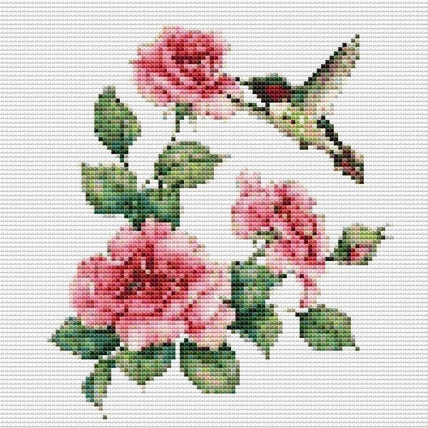 hummingbird pink flower flower banner floral counted