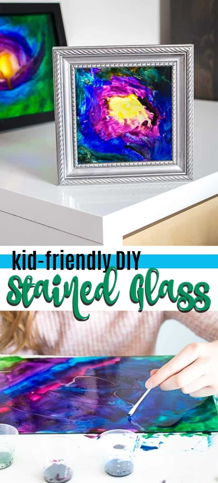 This kid-friendly DIY stained glass project is fun for adults and kids alike making it an out of this world creative craft idea. #stainedglass #artprojects #kidscrafts #craftsforkids #paintcrafts #kidsprojects #galaxy #kidfriendly #stained glass crafts for kids Faux DIY Stained Glass: the perfect galaxy project for kids!