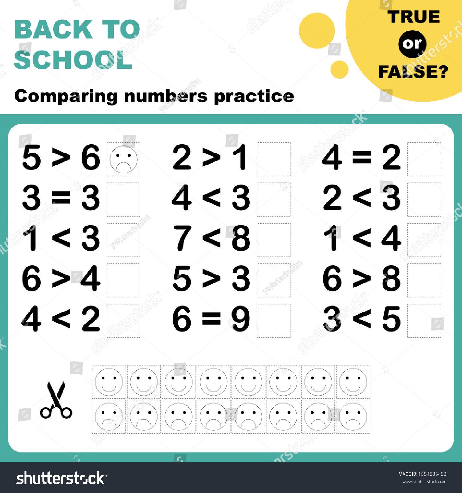 True Or False Comparing Numbers Worksheet Easy Worksheet