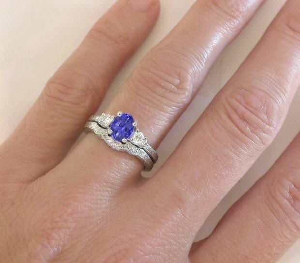 3 Stone Tanzanite Diamond Engagement Ring With Engraving In 14k White Gold