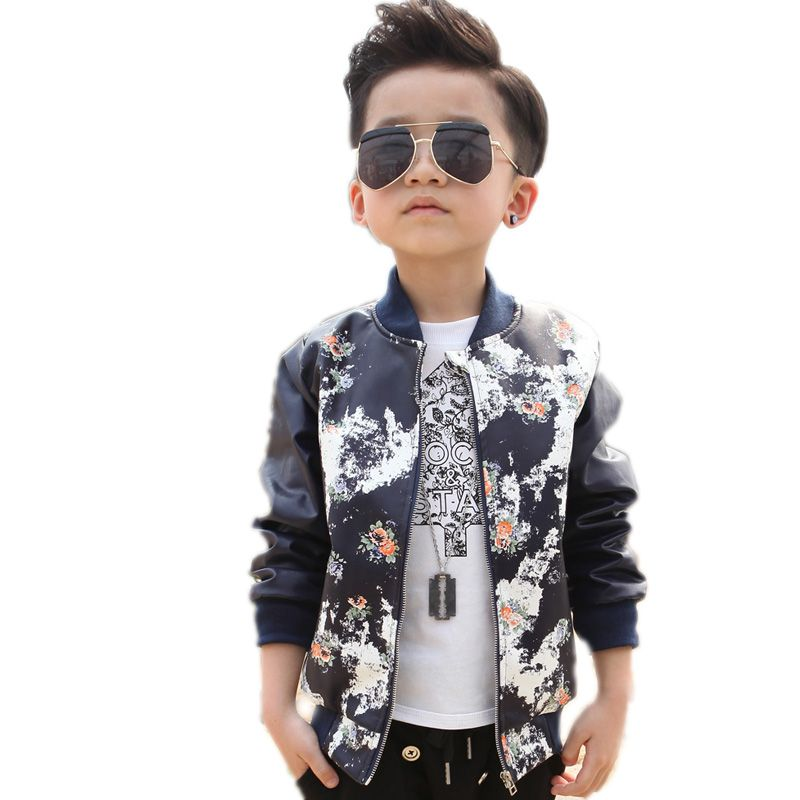 7e5fe5d90 toddler leather jacket 2017 new baby boy jackets floral pu leather ...