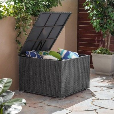 Surprising Santa Rosa Wicker Patio Storage Ottoman Gray Christopher Machost Co Dining Chair Design Ideas Machostcouk