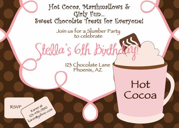 Printable Hot Cocoa Birthday Party Invitation Diy By Luvbugdesign 14 00