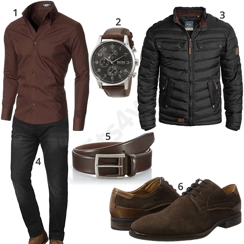 Elegantes Herrenoutfit in Schwarz und Braun   Herren outfit