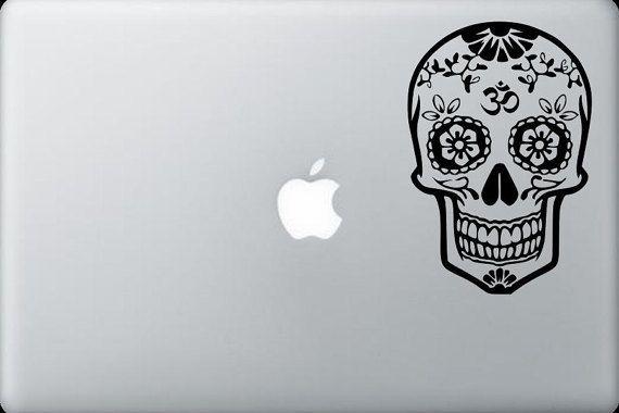 Om sugar skull decal sticker dia de los muertos laptop decal macbook pro sticker apple macbook decal skin decor car window decal sticker 56