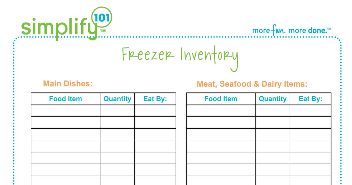 FreezerInventoryListPdf  A Meals Board    Freezer