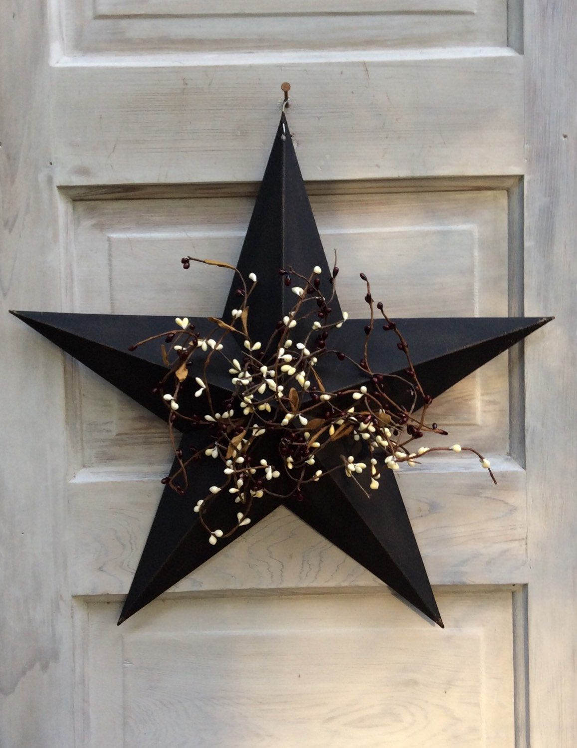 Rustic Star With Pip Berries Country Decor Metal