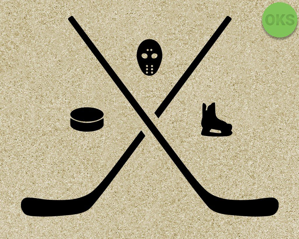 Hockey Stick Puck Mask Skates Svg Dxf Vector Eps Clipart Cricut Download Hockey Stick Monogram Decal Hockey