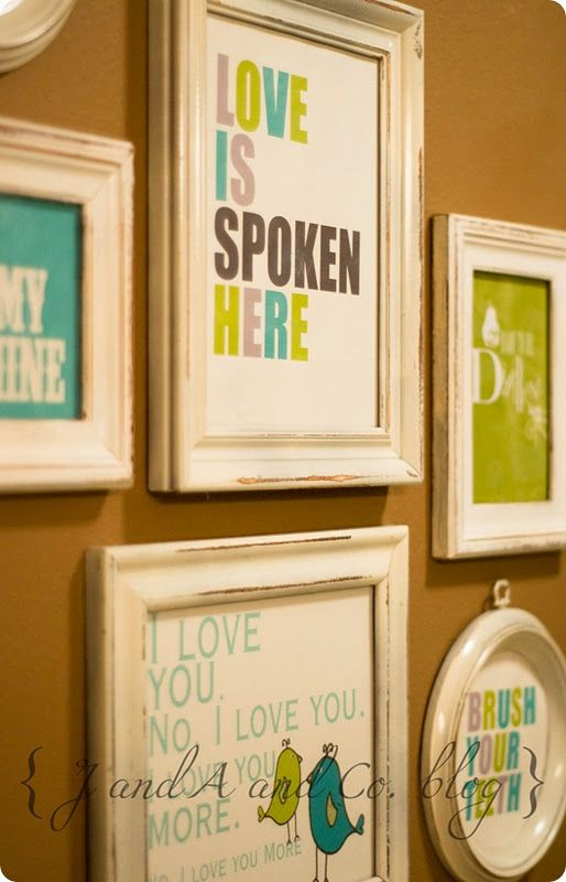 free printables for bathroom and bedrooms - Find some dollar store/goodwill frames, this could be awesome