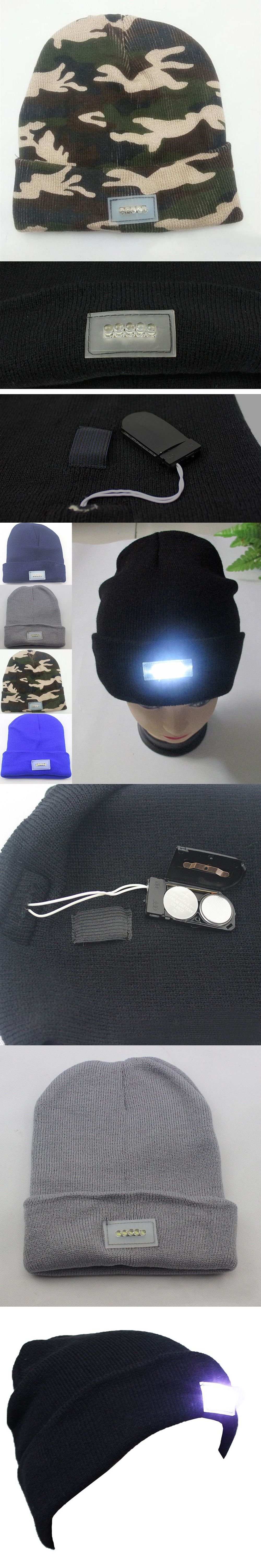4cbea9be0c3 Pack of 1pcs NEW 5 LED Unisex Lighted Beanie Winter Warm Power Knit Cap Hat  for