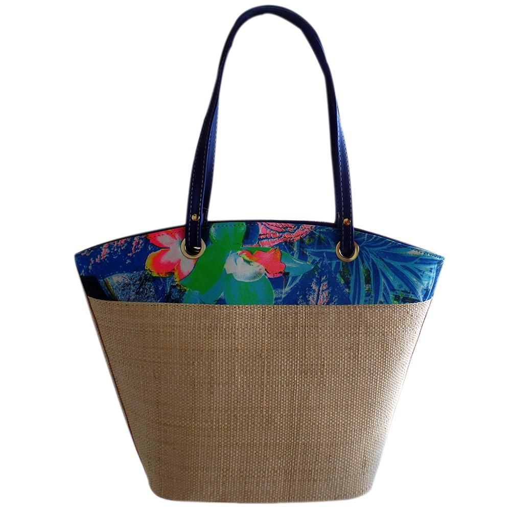 Bolsa em Palha com Estampa Floral Lateral, bolsa grande para praia ou cidade, combina com vários looks, versátil. Azul