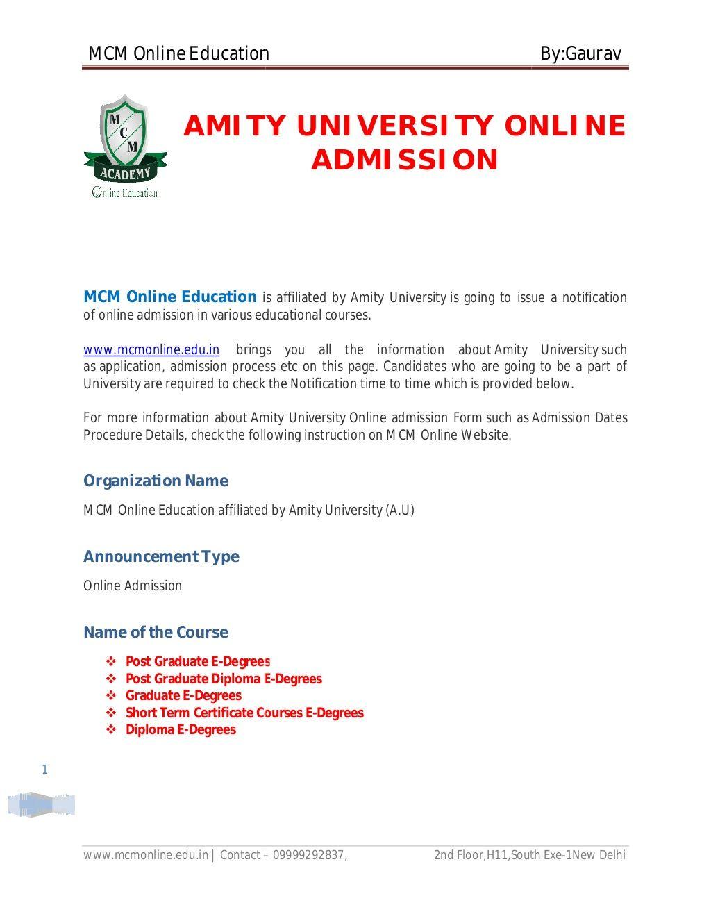 Amity university online admission amity university by mcm online amity university online admission amity university by mcm online education via slideshare yelopaper Choice Image