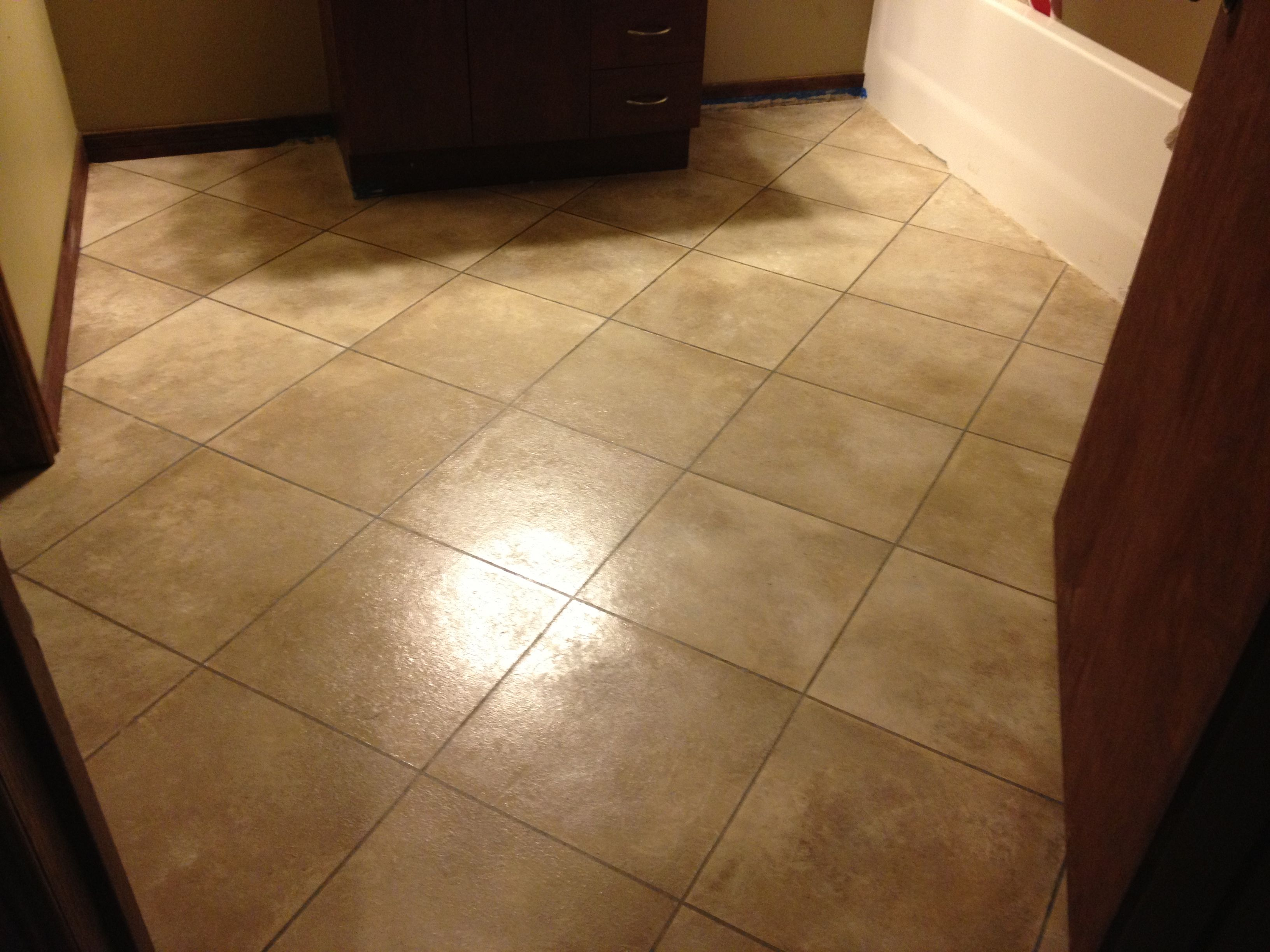 My Painted Tile On Concrete Floor In Bathroom I Used 1 4