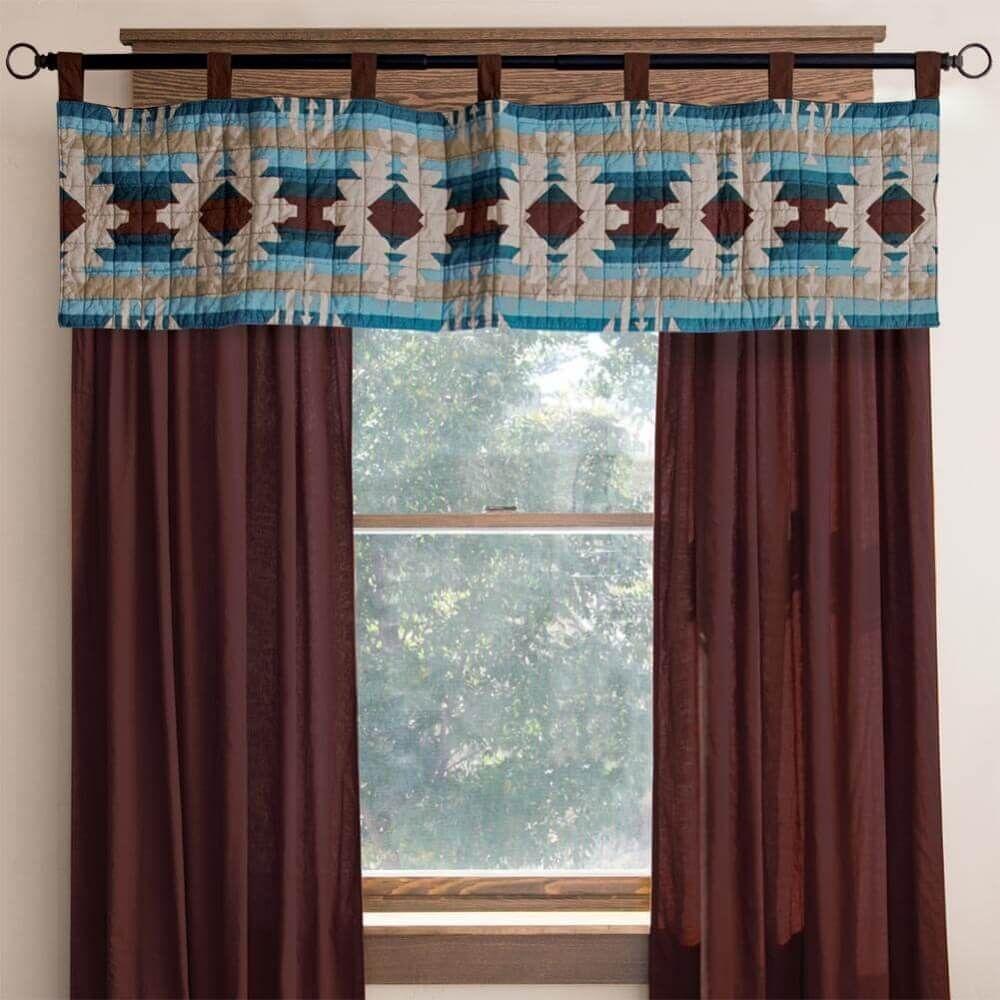 Southwest Lodge Window Treatments Western Curtains Valance Window Treatments Southwestern Window Treatments