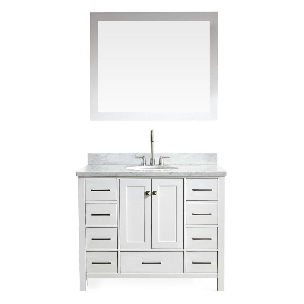Ariel Cambridge 43 White Modern Single Sink Vanity Set A043s Wht
