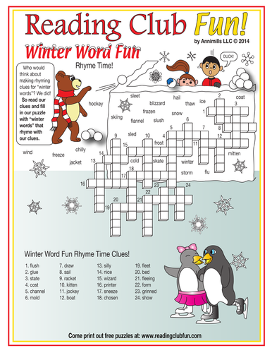 winter rhyming words crossword puzzle tes educational activities printables crossword. Black Bedroom Furniture Sets. Home Design Ideas